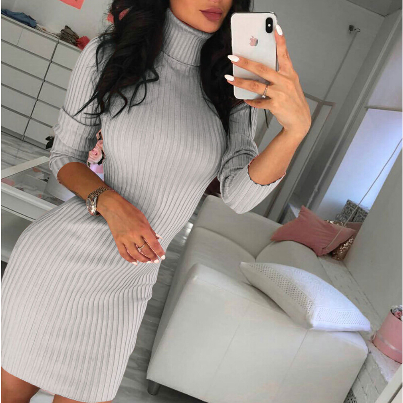 <font><b>Sexy</b></font> High Collar Bodycon Winter <font><b>Dress</b></font> Women Long Sleeve <font><b>Slim</b></font> Short Mini Party <font><b>Dress</b></font> Solid Knitted <font><b>Dresses</b></font> Vestidos <font><b>Black</b></font> <font><b>Dress</b></font> image