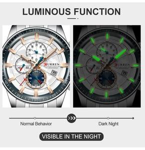Image 4 - New CURREN Brand Men Watches Chronograph Quartz Watch Man Stainless Steel Waterproof Sports Clock Watches Business Reloj Hombre