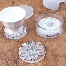 DIY kristal epoksi reçine kalıp 9cm yuvarlak kare bardak altı Coaster saklama kutusu silikon ayna kalıp reçine