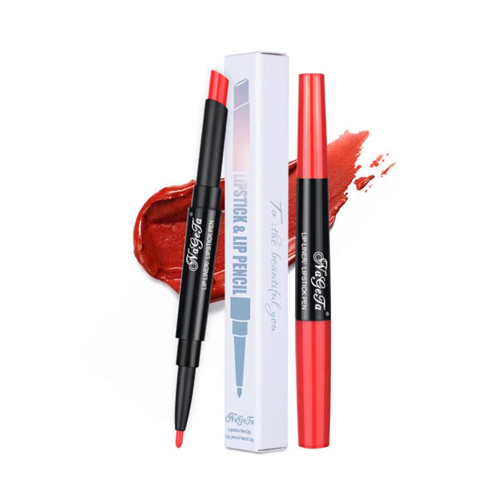 12 色双頭口紅防水ヌードカラー 2 で 1 リップライナー半マット保湿リップ Comestic ペン TSLM2