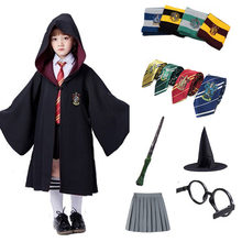 Cosplay traje roupas para crianças robe roupas cosplay magia manto ternos cabo cosplay varinha acessórios crianças dia das bruxas natal