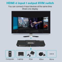Interruptor KVM HDMI 4 puertos HDMI KVM Switch 4 en 1 salida KVM 4 puertos HDMI Switch 4x1 hasta 4K @ 60Hz fuerte Compatible con KVM