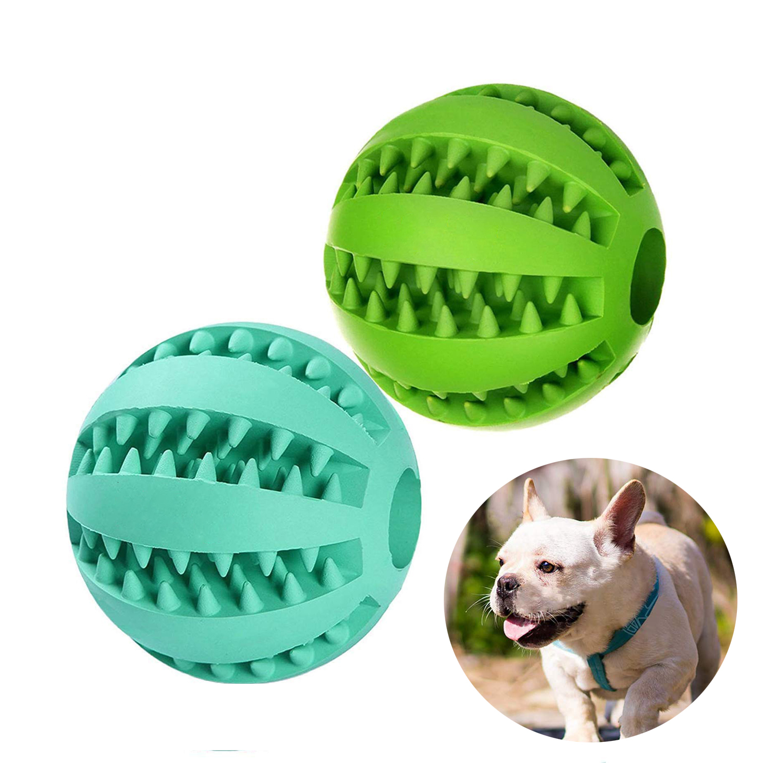 Dog Toys For Dog Toothbrush Clean Ball Food Extra-tough Rubber Interactive Ball Dog Toy For Small Medium Dogs Products image
