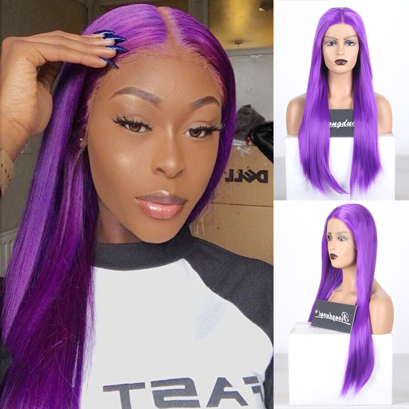 RONGDUOYI Purple Heat Resistant Synthetic Lace Front Wig Long Silky Straight Fiber Hair Lace Wigs for Women HandTied Cosplay Wig