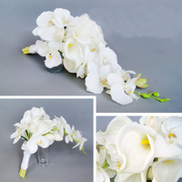 Wedding Ceremony Cascade Waterdrop Bouquet Bridal Bridesmaid Artificial Silk Flower Calla Lily Orchids Flower Arrangement