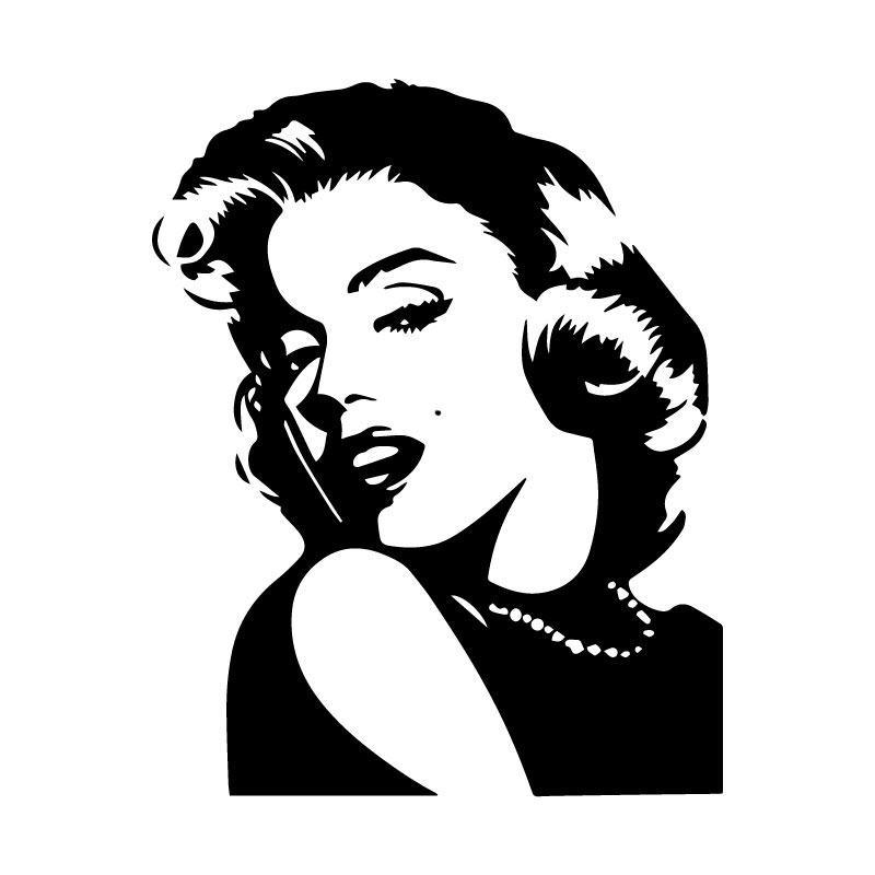 Car Sticker Classic Character Marilyn Monroe PVC Car Decoration Accessories Sticker Creative Waterproof Black/white,16cm*13cm