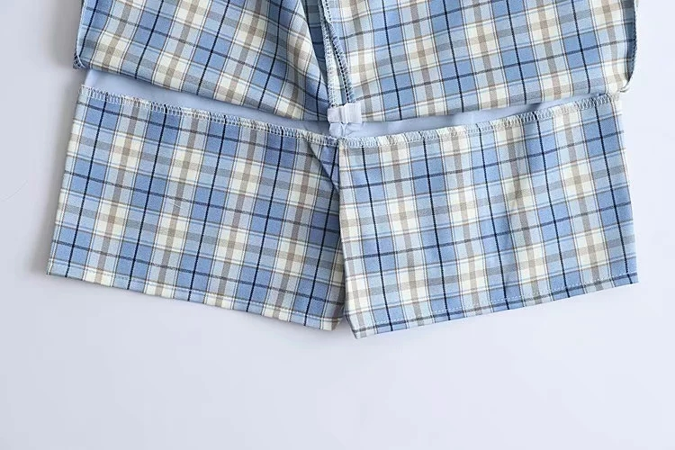 Women Split Details Plaid Mini Skirt with Under Shorts Mini Skort In Check 5