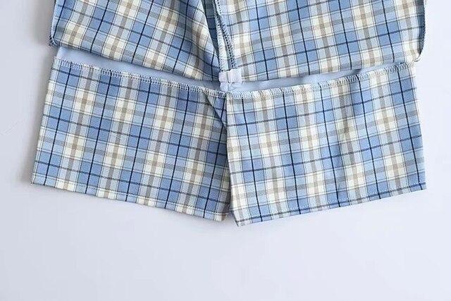 Women Split Details Plaid Mini Skirt with Under Shorts Mini Skort In Check 10