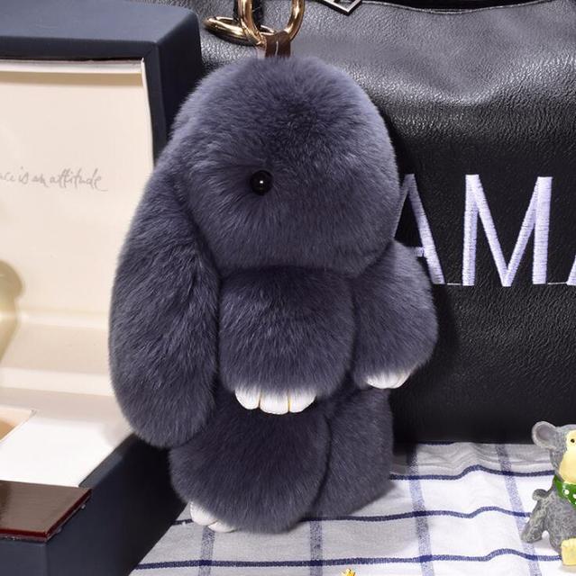 Rabbit Keychain Cute Fluffy Bunny Keychain Rex Genuine Rabbit Fur Pompom Key Ring Pom Pom Toy Doll Bag Charm Car Key Holder