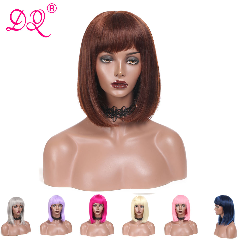 DQ Straight Short Bob Wig With Bangs  Synthetic Hair Wig For Women Pink Blonde Blue Purple Brown Ombre Colored Wig Cosplay Wig