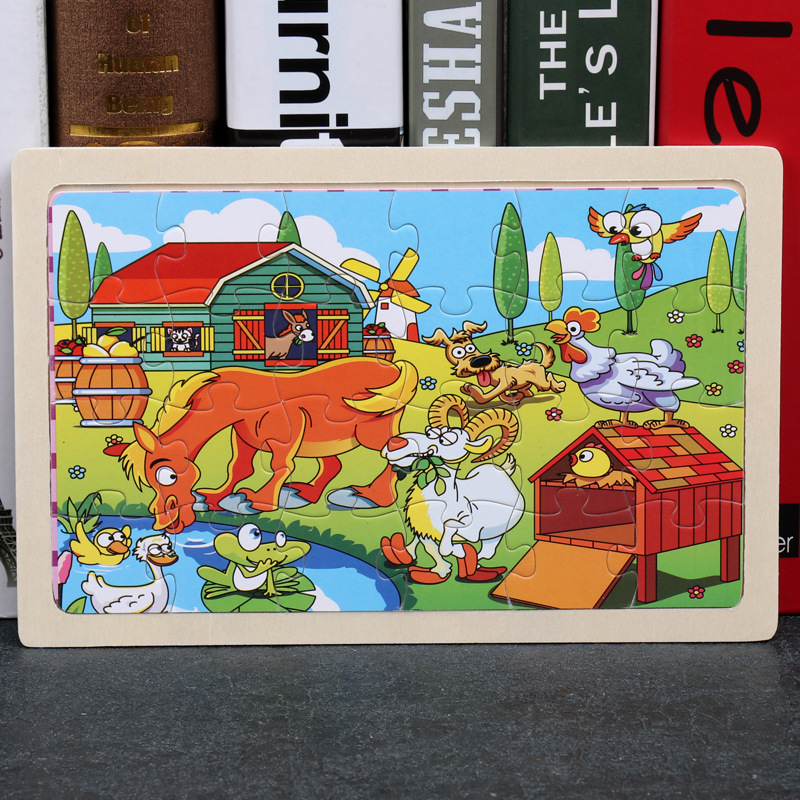 24 Slice Wood Puzzles Children Adults Vehicle Puzzles Wooden Toys Learning Education Environmental Assemble Educational Games 9