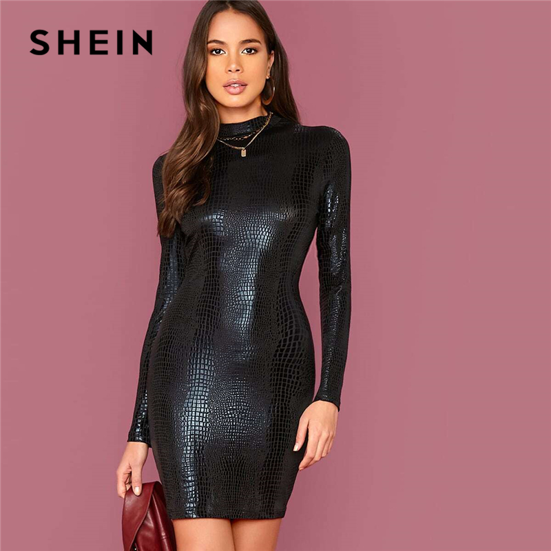 SHEIN Black Mock Neck Crocodile Embossed Glamorous Bodycon Dress Women Autumn Solid Long Sleeve Form Fitted Short Dresses 1