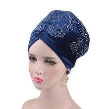 Helisopus 2020 高級ドリルベルベットヘッドバンドターバン女性イスラム教徒のヘッドスカーフキャップextra long headラップヒジヘアアクセサリー