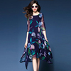 Royal blue dress for women fashion 2020 autumn new style in the long floral print mulberry silk dress temperament
