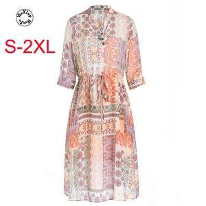 Silk dress new summer dress silk crepe DE chine print dress with thin waist silk dress S to 2XL