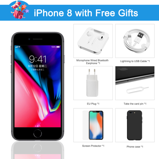 Apple iPhone 8 Used 98% New Original Unlock iPhone8 64GB/256GB 4.7 inch Hexa Core iOS Touch ID Fingerprint Mobile Phone 1821mAh 6