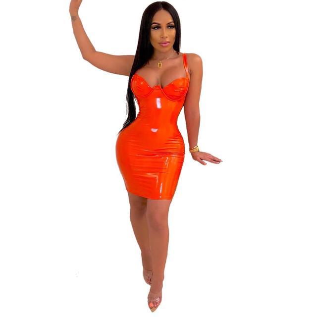 JRRY Women Faux Leather Mini Dress Spaghetti Strap Zippers Sheath PU Clothing Deep V Neck Short Outdoor Wear 6