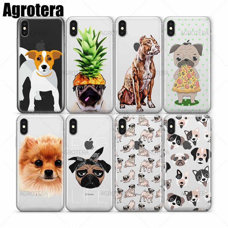 Casos de Telefone Agrotera Beagle Pug Boston Terrier Boxer Bull Terrier Transparente TPU Caso Capa para o iphone 7 8 Plus X XS Max XR