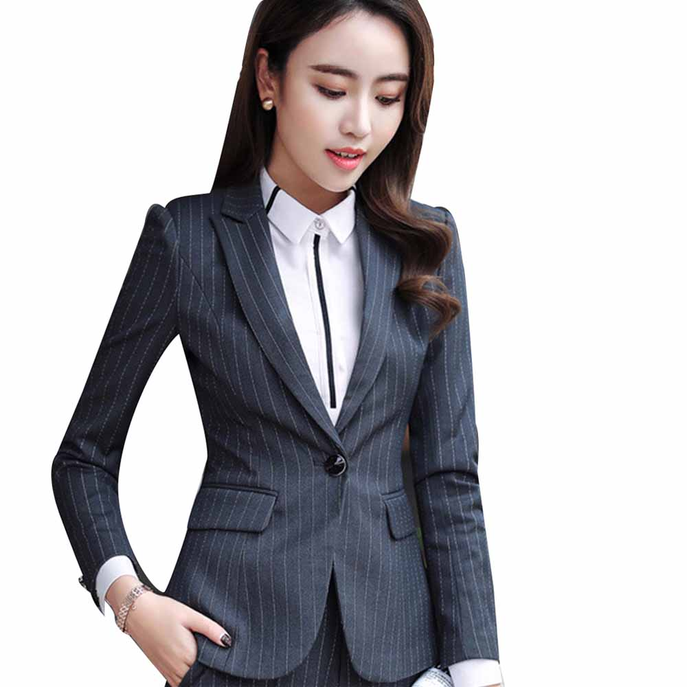 Women Vintage Striped Blazer Jacket Pockets Notched Collar Long Sleeve Suit Female Outerwear Fashion Casaco Feminine Tops Work
