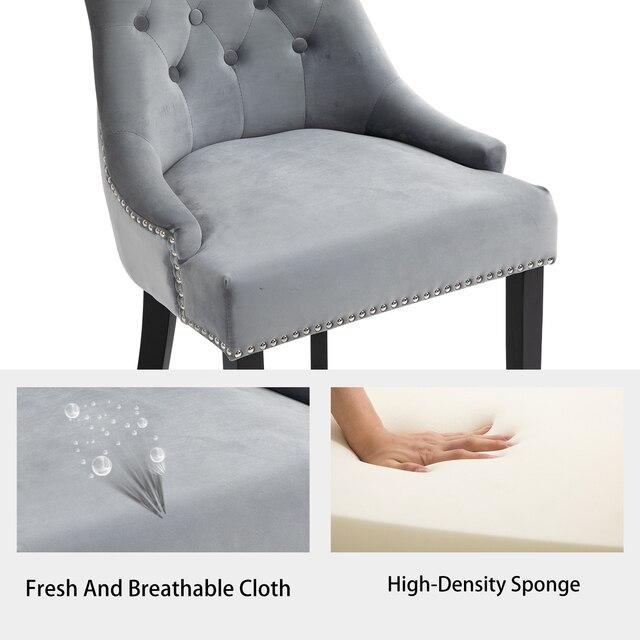 Sigtua 2PCS Upholstered Velvet Dining Chairs Set 4