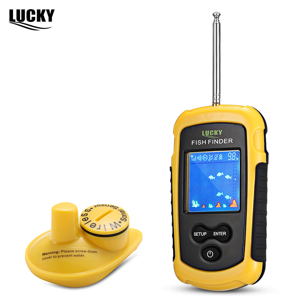 Free Shipping Lucky Portable Wireless Fish Finder Sonar Sensor Transducer Echo Sounder Alarm Detector 40m Depth Fishfinder Sea
