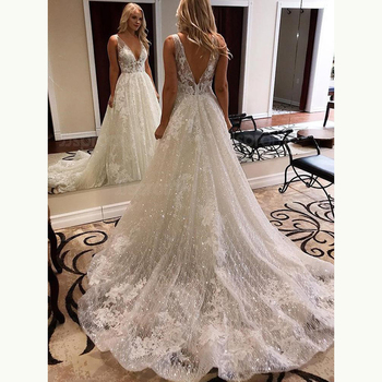 Latest Arrival Gorgeous A Line Lace Bridal Wedding Gowns Sleeveless Sexy Deep V Neck Dresses for Bride Backless Applique