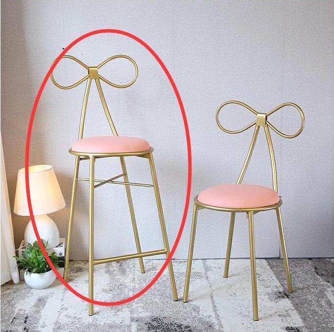 Качественное металлическое кресло, модное, Скандинавское, барное, для отдыха, стул, современный, обеденный, вечерние, с бантом, форма спинки и высокая пена, губка - Цвет: 2
