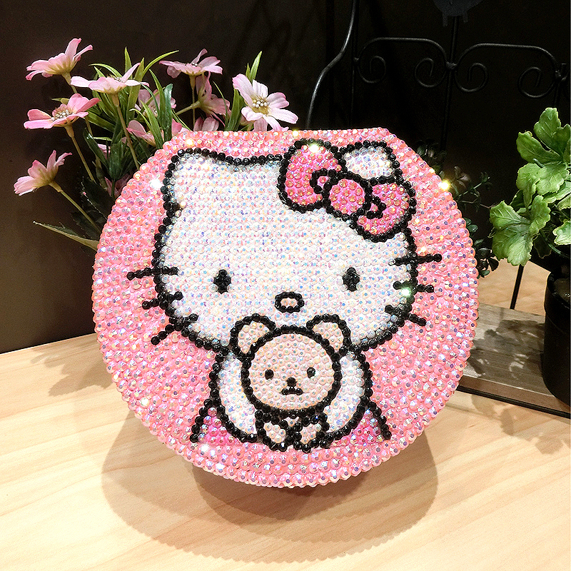 2-pneu Bling strass KT boîte à bijoux rose Helloo Kitty boucles d'oreilles mode bijoux perle stockage bijoux organisateur boîtes de rangement
