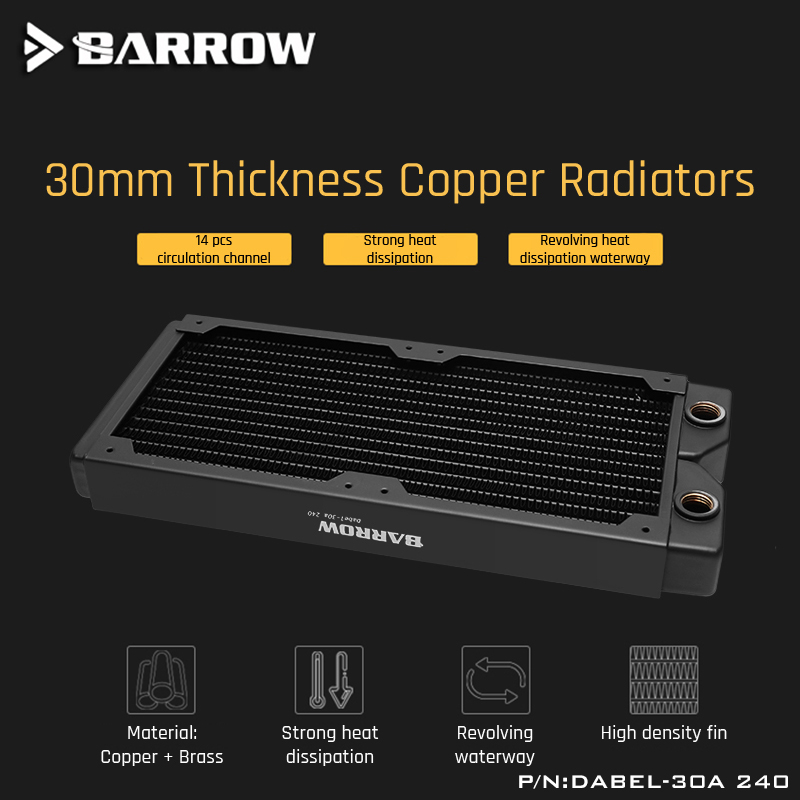 Barrow Dabel-30a 240 Copper Radiator 30mm Thickness 14pcs Circulation Channel Suitable For 120mm Fans