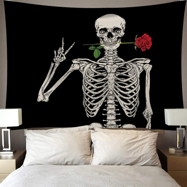 Skeleton Tapestry Wall Hanging Room Witchcraft Throw Rug Carpet Sun Tapestries Art Psychedelic Home Decoration Accessories 3