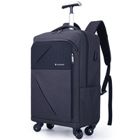 20inch Trolley Backpack Waterproof Trolley Bag Luggage Computer Layer Multi function Pocket Boarding Travel Bag