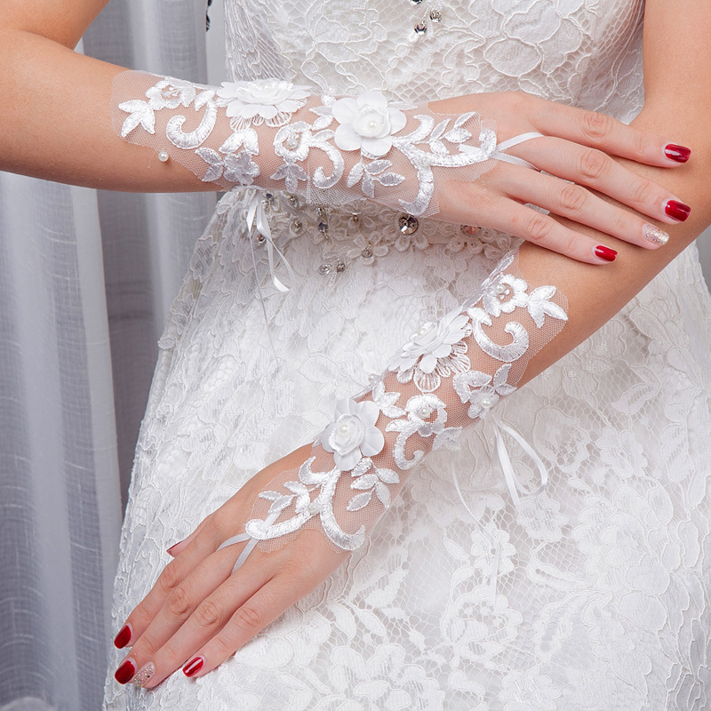 New Style Bridal Wedding Lace Lace Fingerless Gloves Porous Bandage Cloth Gloves Wedding Veil Women's Clothing Accessories