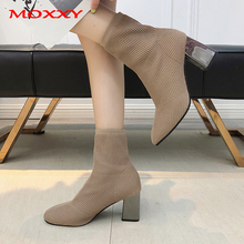 2019 New Sexy Ladies Stretch Sock Boots Women Platform Black Ankle Autumn Chunky High Heels Shoes mujer