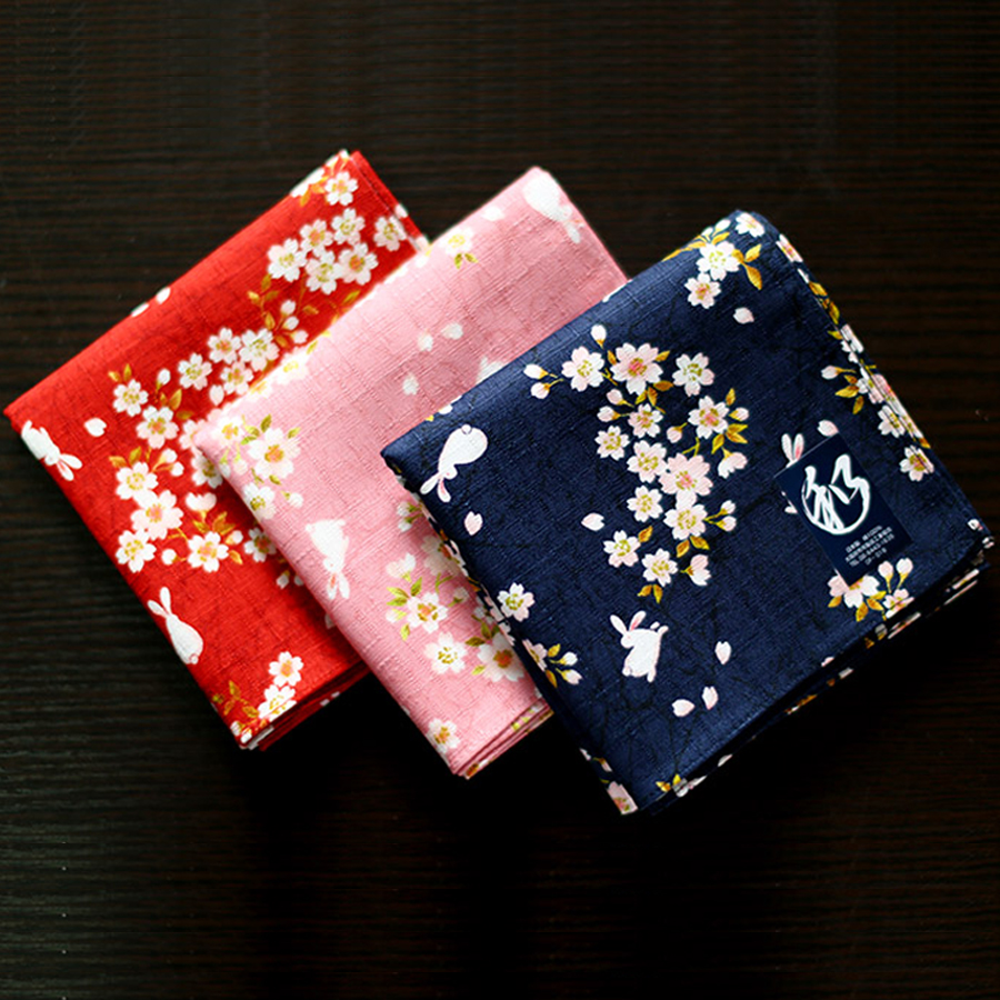 New Arrival Japanese Style Nice Handkerchiefs For Female Floral And Rabbit Pattern Big Square Towel High Quality Hankies Gifts