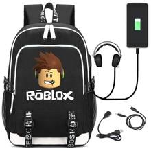 Roblox mochilas multifunción con carga USB para niños, niños y adolescentes, morrales escolares para ordenador portátil de viaje