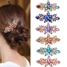 Fashion Women Flowers Rhinestone Hair Pins Crystal Hairpins Girls Hair Clip Hair Barrette Hair Accessories ubuhle fashion women full pearl hair clip girls hair barrette hairpin hair elegant design sweet hair jewelry accessories 2019