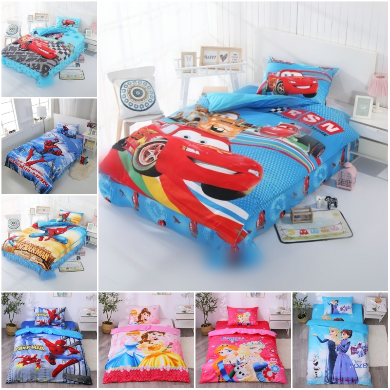 Disney Lightning Mc Queen Cars Bedding Set 100% Cotton Duvet Cover Pillowcases for Baby Boys Children Birthday Gift Bedclothes