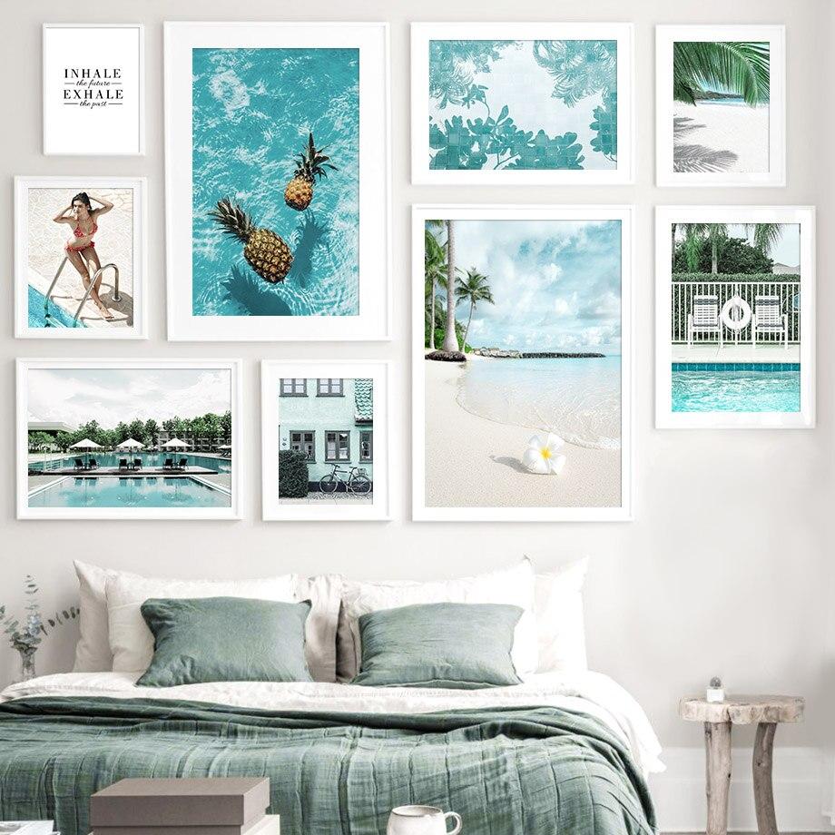 Deniz plaj ananas kız yüzme havuzu İskandinav posterler ve baskılar duvar sanatı tuval yağlıboya duvar resimleri için oturma odası dekor