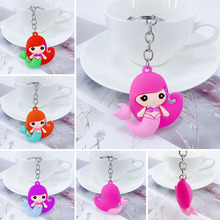 New creative PVC cartoon mermaid alloy keychain girl bag car key pendant children birthday gift