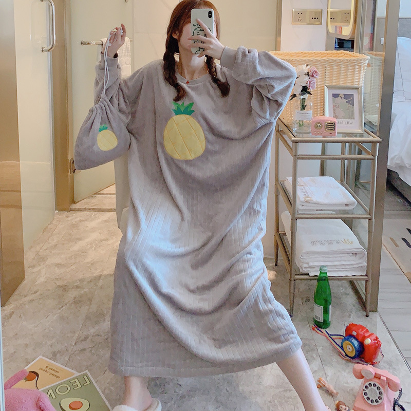 Coral Velvet Pajamas Women's Autumn & Winter Nightgown Cute Students Long Loose And Plus-sized Flannel-Outer Wear Tracksuit