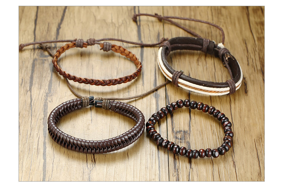 H7134010e89bc44a796abd58097784f53b - Vnox 4Pcs/ Set Braided Wrap Leather Bracelets for Men Vintage Life Tree Rudder Charm Wood Beads Ethnic Tribal Wristbands