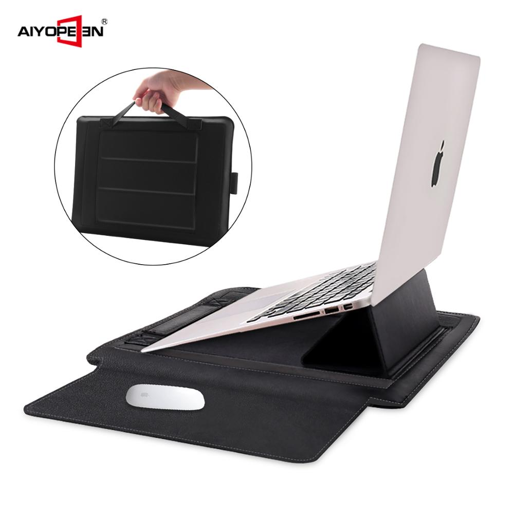 Aiyopeen PU Leather <font><b>Laptop</b></font> <font><b>Sleeve</b></font> Case with Stand Holder Bag for Macbook Air 11 Air <font><b>13</b></font> Pro <font><b>13</b></font> Pro 15 <font><b>inch</b></font> image