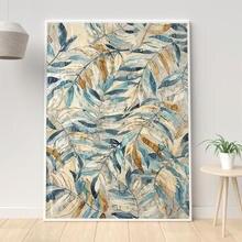 Золото и синие листья холст для живописи цветочный узор материал