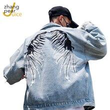 Джинсовая куртка мужская с вышивкой модная джинсовая уличная