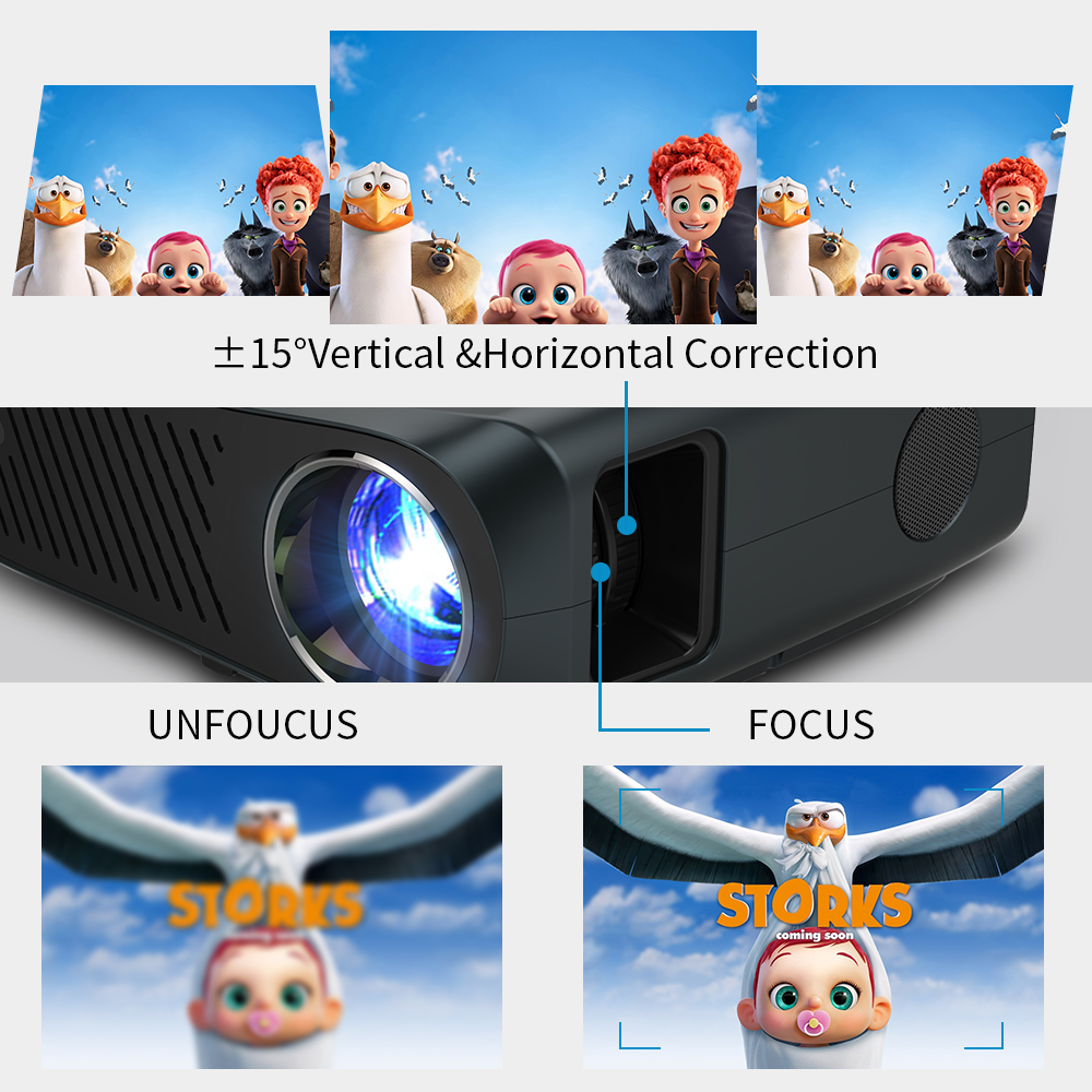 Caiwei completo hd projetor a12 1920x1080p android 6.0 (2g + 16g) wifi led mini projetor de cinema em casa hdmi 3d vídeo beamer para 4k-2