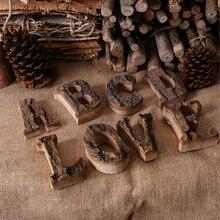 Вместе с корой твердой древесины Ретро Деревянный Английский алфавит номер для кафетерий бар украшение дома Винтаж DIY буквы