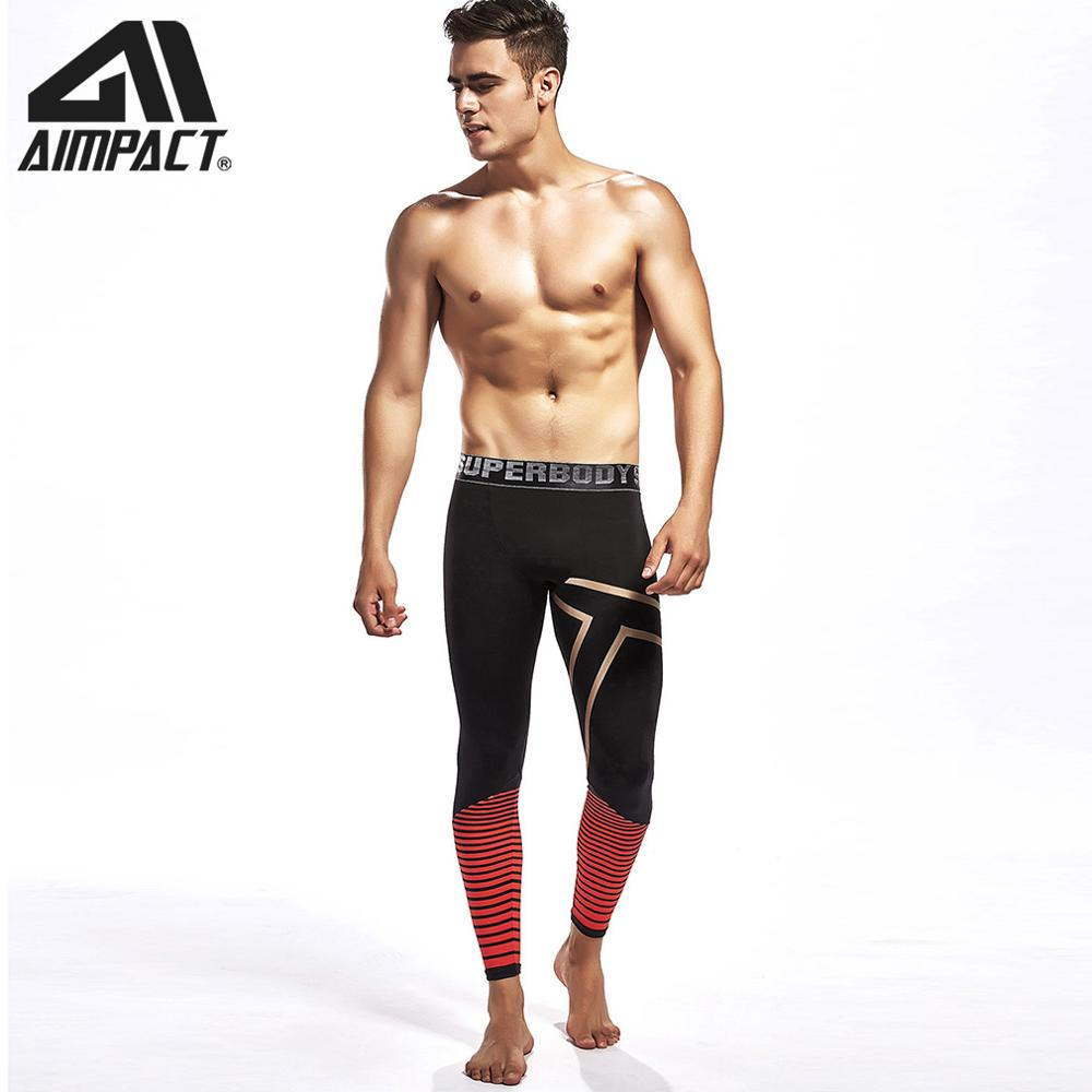 Compression  Length Legging Pants Men Athletic Fitness Tights Training Bodybuilding Workout Gym Strip Pants by AIMPACT AM5125