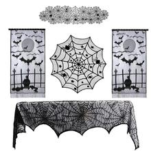 Tablecloth Party-Decoration Spider-Web Horror Halloween Party Fireplace Black