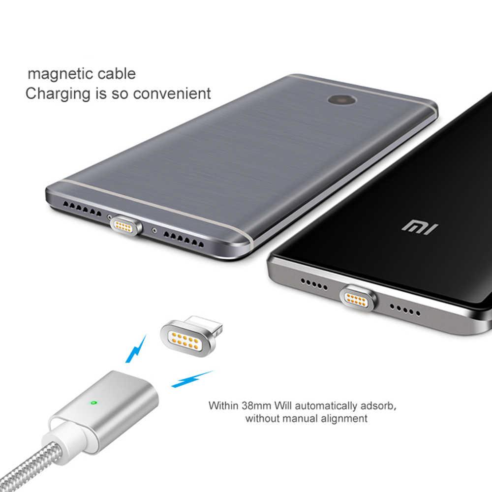 Kabel magnetyczny Micro Usb typ C szybka ładowarka LED telefon Microusb type c magnes ładowarka Usb C dla iPhone Samsung Xiaomi