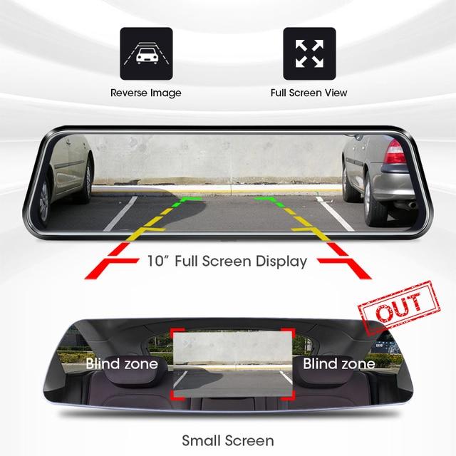 Jansite 10 inch Mirror Car DVR Streaming Media Full Screen Car Camera dash cam 1080P rear view camera Parking Monitor recorder 2